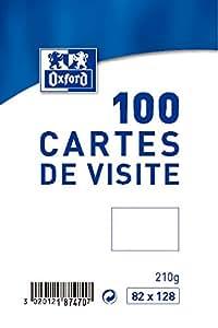 Oxford Pack de 100 Cartes de visite 8,2 x 12,8 cm Blanc