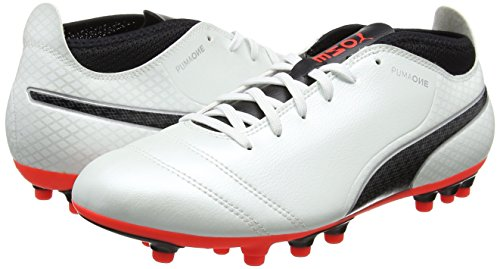 Puma Men   s One 17 4 Ag Footbal Shoes  White  White-Black-Fiery Coral   7 5 UK