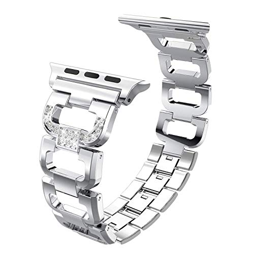 hooroor Armband Kompatibel für Apple Watch Series 4 Series 3 Series 2, Premium-Edelstahl-D-Style-Armband für Apple Watch (Silber 38mm/40mm)