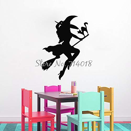 56x75 cm Mädchen Hexe auf Besen mit Katze Vinyl Wandtattoo Aufkleber Halloween Festival Party Wandtattoos Kinderzimmer Dekor Wandhauptdekor