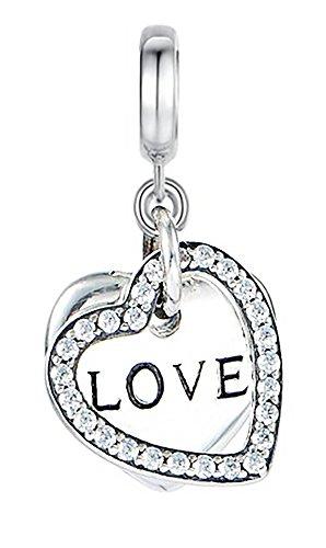 Argent sterling véritable Perle charm en forme de cœur avec inscription «LOVE» et entouré Par un Cristal en forme de cœur compatible avec les bracelets Pandora, Chamilia, Troll & etc.