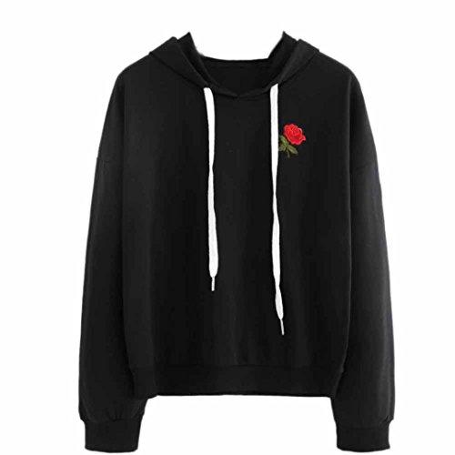 Xinan Kapuzenpullis Langarm Damen Hoodie Sweatshirt mit Pullover Tops Bluse Stickerei Kapuzen von (M, Schwarz -) (Applique Kapuzen-sweatshirt)