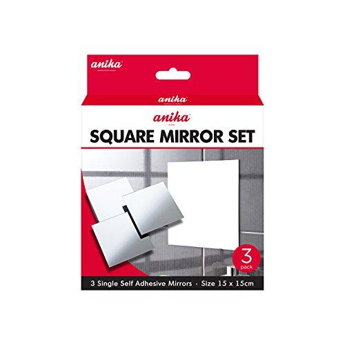 Anika 3Stück Selbstklebende Spiegel, quadratisch 15cm, weiß, 15x 0,5x 15cm - 3 Stück Spiegel