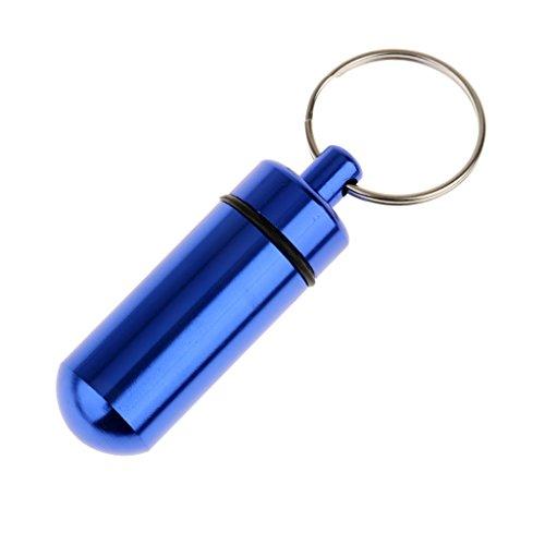 Aluminium Legierung Wasserdicht Luftdicht Fob Pille Fall Box Halter mit Schlüsselanhänger (Blau) (Fällen Schlüsselanhänger)
