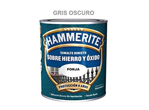 Esmalte Antioxidante Forja DIRECTO AL HIERRO HAMMERITE Gris Oscuro 750 Ml.