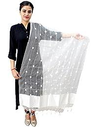 Matelco Women's White Chanderi Silk Aari Work Embroidered Dupatta.2.25Mtrs