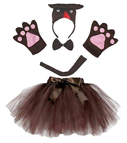Petitebelle 3D Owl Stirnband Bowtie Schwanz Handschuhe Tutu 5pc Lady Kostüm Einheitsgröße Braun