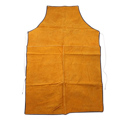 Price comparison product image HANSHI Heavy Duty Cowhide Leather Workwear Mens Welders Apron Full Length Welding Protection Heat Resistant Heat Insulation Apron (HSW-077)
