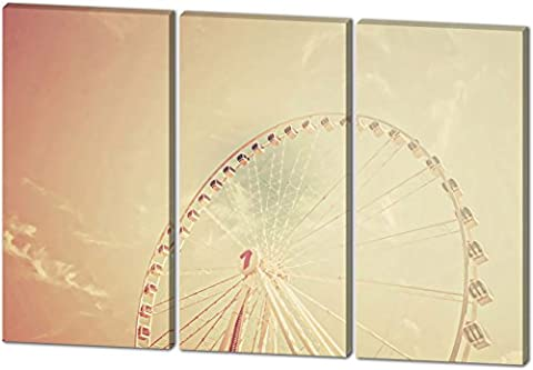 Das Riesenrad, Gemälde Effekt, schönes und hochwertiges Leinwandbild zum Aufhängen in XXL - 3 Teiler mit 120cm x 80cm, echter Holzrahmen, effektiver Pigmentdruck, modernes Design für Ihr Büro oder Zimmer
