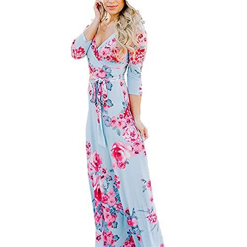 Lover-Beauty Damen Partykleid Sexy Blumen V-Ausschnitt Kleider Maxi Lang Träger Kleid Abendkleid Strandkleid Blau m - V-ausschnitt Kimono Kleid