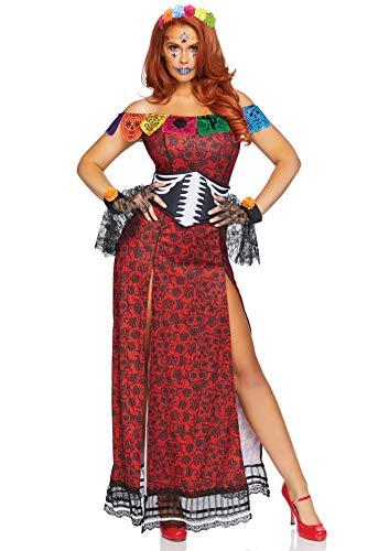 Für Übergröße Erwachsenen Kostüm Zombie - Dia De Los Muertos Damen Kostüm |Tag der Toten Kostüm für Damen | von Klein bis Übergröße für Halloween, Karneval und Mottoparty: Größe: M/L