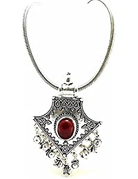 Efulgenz Antique Oxidised German Silver Fancy Party Wear Statement Necklace Jewellery For Girls And Women