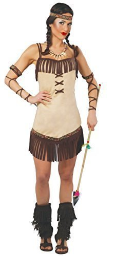 Damen Sexy Indianer Indianer Squaw Wilder Westen Halloween Kostüm Kleid Outfit UK (Sexy Halloween Indian)
