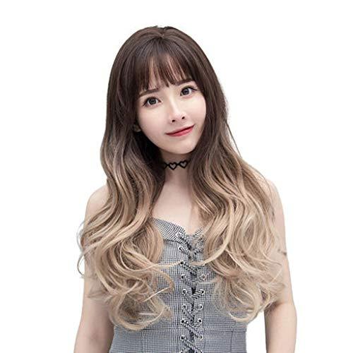 Perücke, weibliches langes lockiges Haar große Welle drei Farbverlauf niedliche flauschige natürliche rundes Gesicht voller Kopf langes glattes Haar Set (Farbe : Gradient linen ()
