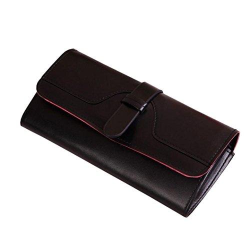 Portafoglio Donna, Tpulling Grande borsa di supporto della carta del raccoglitore della frizione della frizione di cuoio di grande capacità per le donne (Hot pink) Black