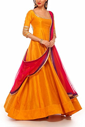 Sunshine Fashion Girls\' Satin Anarkali Salwar Suit Set (Sund85_Orange_Free Size)