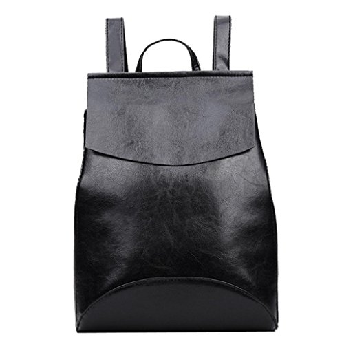 Kangrunmy®Donne moda scuola viaggio stile Satchel Bag borsa zaino Nero