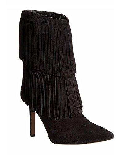 SONGYUNYAN Europa fließt Sukau mit handgefertigten Spitzen Stiletto Mode Damenstiefel Black