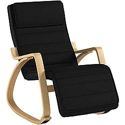 SoBuy® FST16-Sch Rocking Chair, Fauteuil à bascule avec repose-pieds réglable design, Fauteuil berçante, Fauteuil relax, Bouleau Flexible (Noir)
