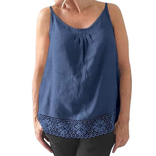 CUTUDE Damen T Shirt, Bluse Kurzarm Sommer Frauen Lässiges Sling Geraffte Spitze Baumwolle Ärmelloses Oberteil Top Mode 2019 (Blau, Large)