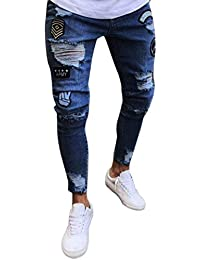 Elodiey Pantalones para Hombre Jeans Destroyed Slim Pantalones Jeans para  Hombre Fit Destroyed Joven Summer Pantalones 0be60dd1ab326