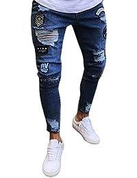 Elodiey Pantalones para Hombre Jeans Destroyed Slim Pantalones Jeans para  Hombre Fit Destroyed Joven Summer Pantalones 24cb24bae6c46