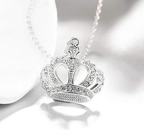 MYYQ 925 Sterling Silber Damen Kette mit Anhänger mit,Europäische und amerikanische Accessoires, Mode Kristall Halskette, edle Krone, Roségold Anhänger, weiblichen Schmuck