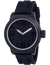 Konigswerk AQ202895G - Reloj de pulsera (manecillas blancas, anillo interior, correa de silicona negra, dial y caja de cuarzo)