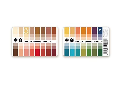 Pratica carta colorata Autunno-primavera (colori caldi) in plastica con 30 colori tipici per l'analisi dei colori, consulenza di colore, consulenza di stile