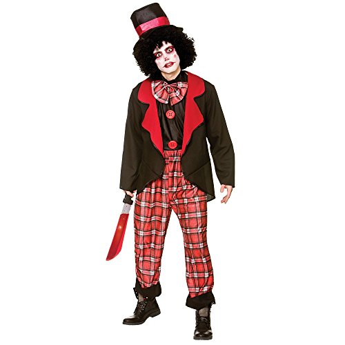 Deluxe Freaky Clown Men's Costume Scary Halloween Fancy Dress