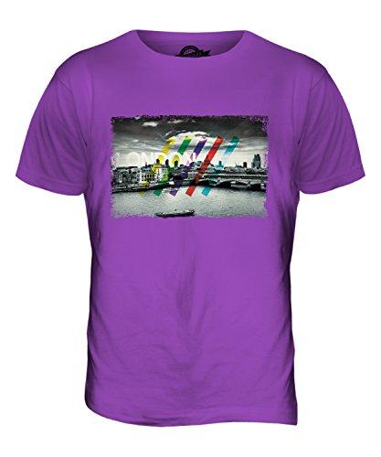 CandyMix Londra Orizzonte T-Shirt da Uomo Maglietta Viola