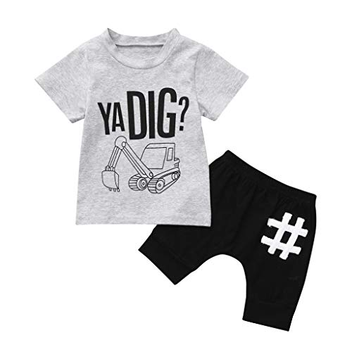 (JUTOO 2 Stücke Set Kleinkind Kinder Baby Boy Brief Outfits Kurzarm T-Shirt Top + Hosen Kleidung Set (Grau,110))