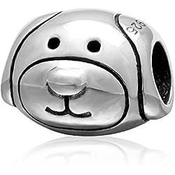 Abalorio de plata de ley 925, diseño de cabeza de perro, compatible con pulseras de abalorios de marcas europeas