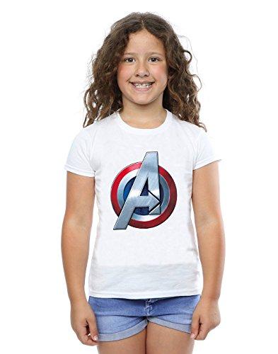 Marvel Niñas Avengers 3D Logo Camiseta Blanco 5-6...