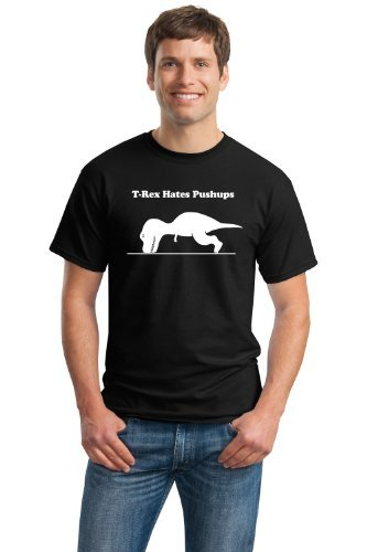 ANN Arbor T-Shirt Co. Mujeres T-Rex Can't Do Push-Ups Adult T-Shirt/Funny Work out, Cross Fit, Crossfit, Pushups Fitness Shirt, Grandes Negro