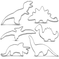 KENIAO Dinosaur Cookie Cutters Set for Kids - 6 Piece - T-Rex, Triceratops, Stegosaurus, Brontosaurus, Pterodactyl and Baby Dinosaur Cutter - Stainless Steel