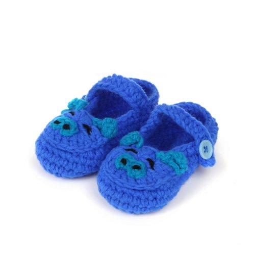 Smile YKK 0-12 mois Bébé Unisexe Chaussure Tricot Décor Fleur Chaud Souple Pantoufles A la main Bleu Foncé