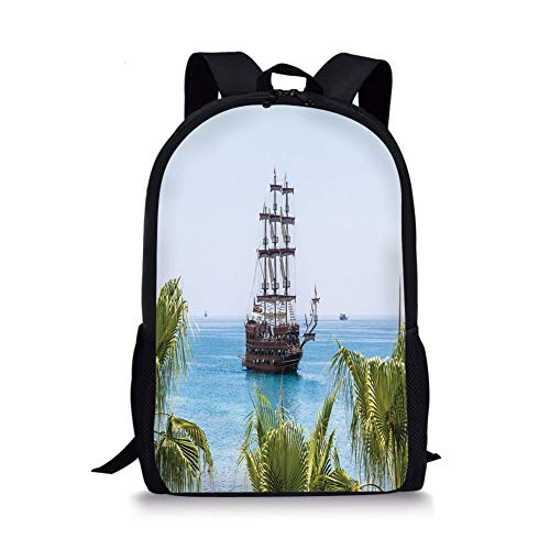 School Bags Pirate,Sailing Yacht in Clear Blue Sea Palm Trees Sunny Summer Day Exploration Decorative,Brown Light Blue Green for Boys&Girls Mens Sport Daypack -