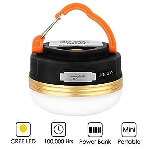 LED Campinglampe,HiHiLL Mini Wiederaufladbare Camping Laterne 800lm 1800mAh 3W 3 Licht Modi Power Bank Warmes mit USB Output für Campingtrip Wandern Abenteuer usw