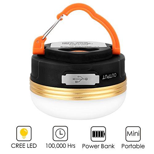 HiHiLL LED Lampe Camping, Camping Laterne, Mini-Zelt-Beleuchtung, mit USB-Ausgang, 800 Lumen, wiederaufladbar, wasserdicht, 3W, 3 Modi, Magnethalterung zum Aufhängen, Warm-Weiß