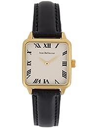 Reloj hombre JEAN Bellecour y pulsera de cuarzo esfera color blanco 28 * 28 mm negro piel jb1103