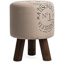 Preisvergleich für YYdy-Polsterhocker Mehrzweck Kleine Hocker für Wohnzimmer Leinen Tuch Massivholz Hocker Bein Einfache Mode-Stil Durchmesser 31 cm (12 in), Höhe 40 cm (16 in)