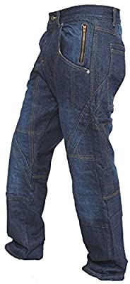 Men's Denim Armours Motorcycle Motorbike Trousers Pants Jeans Reinforced with Aramid Protection