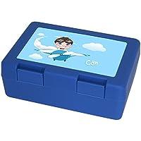 Preisvergleich für Brotdose mit Namen Can und schönem Piloten-Motiv für Jungen | Brotbox blau - Vesperdose - Vesperbox - Brotzeitdose mit Vornamen