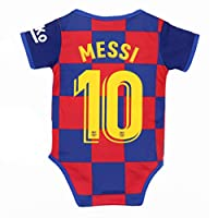 aiycome Barcelona Football Club Home Soccer Baby Bodysuit Comfort Jumpsuit for 0-18 Months Infant and Toddler(B,Messi # 10,0-9 Monthes)