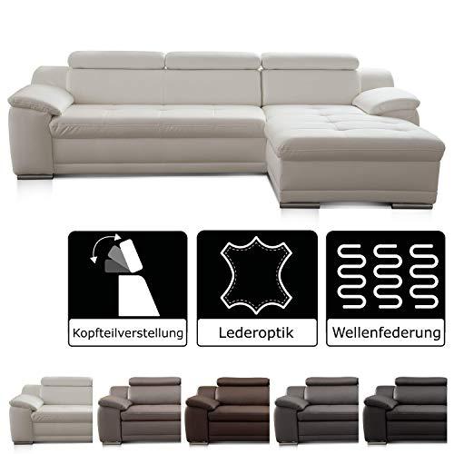CAVADORE Ecksofa Aniamo mit XL-Longchair rechts , Inkl. verstellbarer Kopfteile und Wellenunterfederung , Sitzecke für Wohnzimmer in Kunstleder , 270 x 80 x 165 , Kunstleder weiß - Schwarz-braun-ecke-sofa