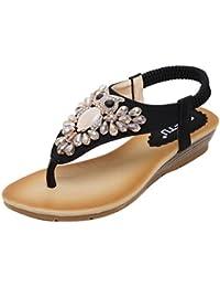 DQQ Damen Perlen ankls Gurt String Sandale, Schwarz - 1 - Größe: 38