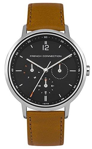 French Connection–Reloj de Cuarzo para Hombre con Esfera analógica y Azul Correa de Piel Bronce fc1276ut