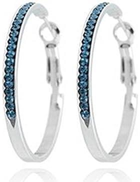 Tillberg Ohrringe silber mit Swarovski-Steinen besetzt ozean blau Damen-Creolen Ohrring-Set mit Swarovski Kristallen...