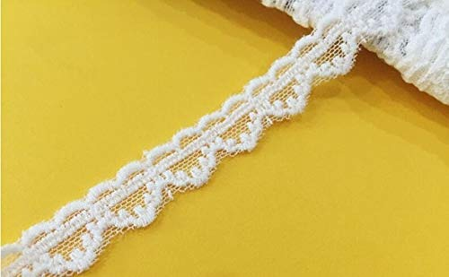 AiCheaX Spitze basteln - Baumwolle Stickerei Lace Border überbackene 14 Yds Off White Flower gestickte Band applizierte Spitze s DIY Zubehör 1,5-8,5 cm - (Farbe: 1,4 cm breit) -